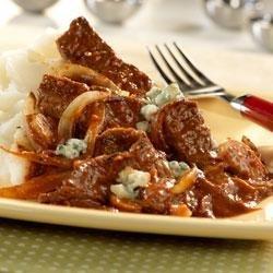Steak with Tomato Gorgonzola Sauce recipe