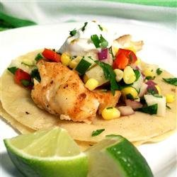 Fiery Fish Tacos with Crunchy Corn Salsa recipe