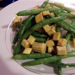Coconut Curried Tofu with Green Beans and Coconut Rice recipe