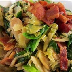 Warm Brussels Sprout, Bacon and Spinach Salad recipe