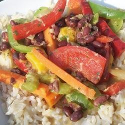 Adzuki Bean Mango Stir Fry with Cilantro Lime Coconut Sauce recipe