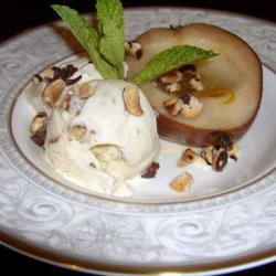 White Wine Roasted Pears With Hazelnut Ice Cream recipe