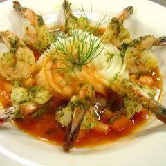 Pesto Shrimp With a Bloody Mary Butter Sauce recipe
