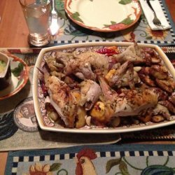 Roast Chicken With Root Vegetables, Rosemary, and Garlic recipe