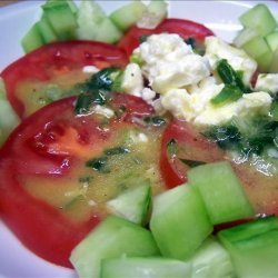 Tomato and Cucumber Salad With Feta and Honey Mustard Dressing recipe