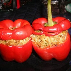 Stuffed Capsicums or Red Bell Peppers recipe