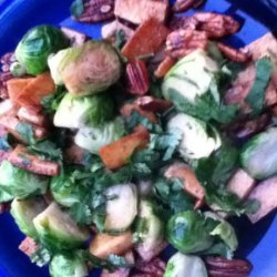 Caramelized Tofu and Brussel Sprouts With Cilantro and Nuts recipe