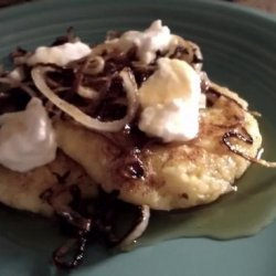 Griddled Polenta Cakes With Caramelized Onions, Goat Cheese, And recipe