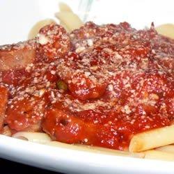 Pasta with Hot Sausage Sauce recipe