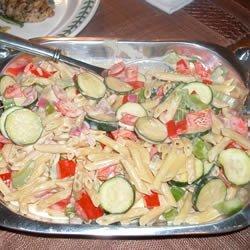 Pasta With Veggies In a Tahini and Yogurt Sauce recipe