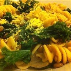 Vegan Lentil, Kale, and Red Onion Pasta recipe