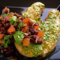 Seared Spiced Salmon Steaks With Black Bean Salsa recipe