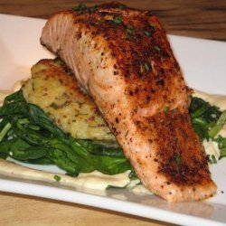 Seared Salmon on Potato Cake, Wilted Spinach W/ Dijon Sauce recipe