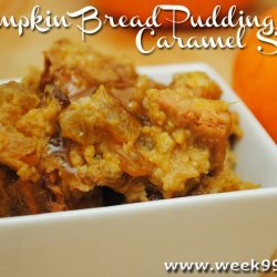 Pumpkin Bread Pudding with Caramel Sauce recipe