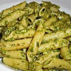 Penne With Garlic Pesto recipe