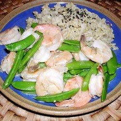 Stir-Fried Shrimp with Snow Peas and Ginger recipe