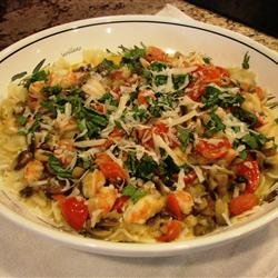 Pasta With Shrimp, Oysters, and Crabmeat recipe
