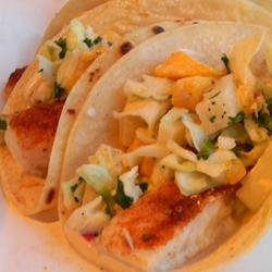 Easy Fish Tacos with Mango-Pineapple Slaw recipe