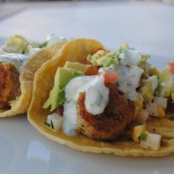 Baja Shrimp Tacos With Jicama-Corn Salsa and Ranch Crema #RSC recipe