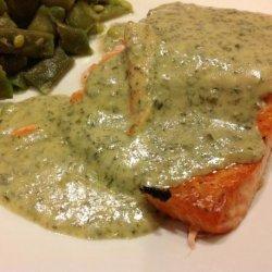 Salmon With Pesto Cream Sauce recipe