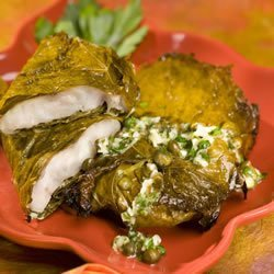 Red Snapper in Grape Leaves with Garlic and Caper butter recipe