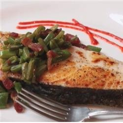 Seared Halibut with Bacon and Bean Relish recipe
