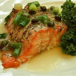 Roasted Salmon with White Wine Sauce recipe