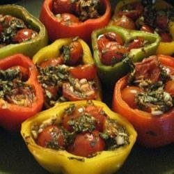 Peppers Roasted with Garlic, Basil and Tomatoes recipe