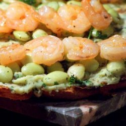 Bruschetta With Lima Bean Salad and Lemon Shrimp recipe