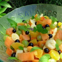 Peachy Fresh Fruit Salad With a Flourish of Angelica and Mint! recipe