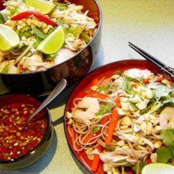 Cold soba noodle, chicken and prawn salad recipe