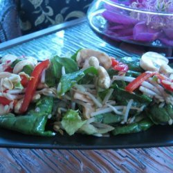 Spinach Salad With Cashews & Bean Sprouts recipe