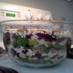 Layered Pear, Feta, Cranberry, Salad With a Balsamic Dressing recipe