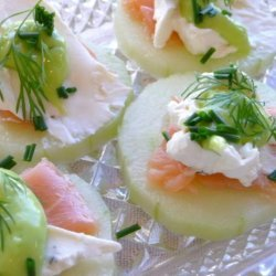 Fresh Cucumber Slices With Smoked Salmon and Wasabi Cream recipe