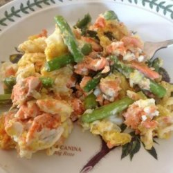 Scrambled Eggs With Smoked Salmon, Asparagus and Feta Cheese recipe
