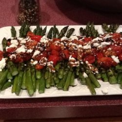 Asparagus With Balsamic Tomatoes and Goat Cheese recipe