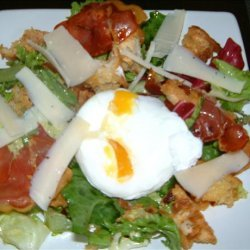 Warm Bread Salad of Crispy Pancetta, Parmesan and Poached Egg recipe