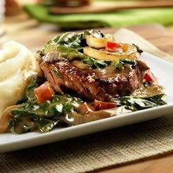 Beef Sirloin Steak with Baby Spinach recipe