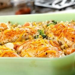 Chicken, Seasoned Rice and Vegetable Casserole recipe