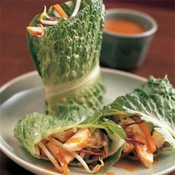 Chicken Lettuce Wraps With Peanut-Miso Sauce recipe