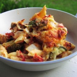 Rustic Baked Pasta With Roasted Vegetables and Sausage recipe