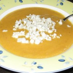 Roasted Pear-Butternut Soup With Crumbled Blue Cheese recipe