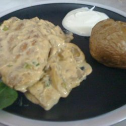 Chicken Mushroom With Baked Potatoes recipe