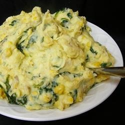 Spinach and Sweet Corn Mashed Potatoes recipe