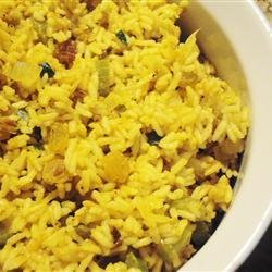 Rice Pilaf with Raisins and Veggies recipe