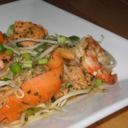 Prawn and Salmon Stir Fry With Lemon Grass and Mint recipe
