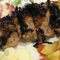 Roasted Pork Loin With Blackened Onions and Dark Gravy recipe