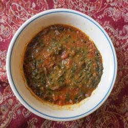 Spinach and Tomato Dal (Indian Lentil Soup) recipe
