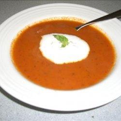 Sweet Onion & Tomato Soup With Fresh Basil Cream recipe