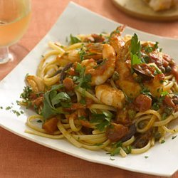Linguine With Shrimp, Tomatoes, Olives, and Capers recipe